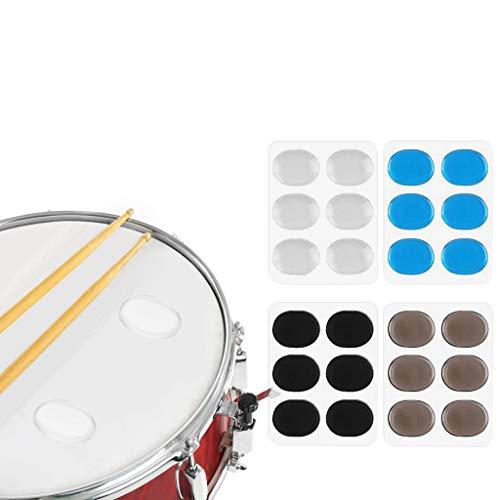 Feelairy Drum Damper Pads, 24 Stück Silikon-Gel-Dämpfer Set Transparent Trommel Dämpfer Blau Trommeldämpfer-Pads Braun Trommel Pads Schwarz Silikon-Schlagzeug-Schalldämpfer