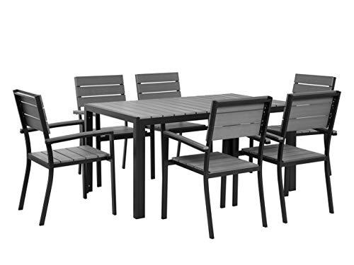 Beliani Modernes Gartenmöbel Set in Grau Tisch und 6 Stühle Aluminium Kunstholz Como