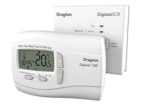 Drayton 123042 Digistat +3RF & Receiver, White