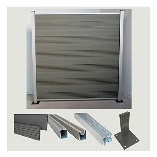 Komplettset WPC Zaun Steckzaun Sichtschutz (Höhe 185 cm/Breite 180 cm) mit Pfosten (1950 mm) zum Aufdübeln grau/Silber eloxiert (Serie WoodoTexel) (1 x Zaun + 2 Pfosten + 2 Pfostenträger)