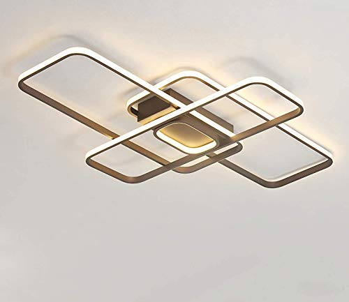 Lámpara LED de techo regulable para salón, dormitorio, lámpara de diseño moderno y rectangular, iluminación de techo para salón, dormitorio, casa de campo, lámpara de hierro acrílico, longitud 80 cm