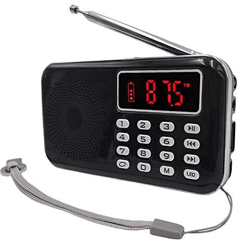 iMinker Mini Radio portátil Digital Am/FM Speaker MP3 Player Soporte TF Tarjeta/USB con Pantalla LED, Linterna, Batería Recargable, Auriculares Jack (Negro)