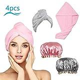 CHIFOOM Asciugamano Capelli Rapido,4 PCS Cuffia per la Doccia del Donna e Asciugamano per ...