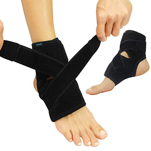 Vive Foot Ankle Wrap - Right and Left Foot Support Sleeve Brace for Men and Women - Adjustable Sprained Feet - Lightweight, Breathable Guard - Stabilizer for Running, Rolled Sprains, Swollen Tendonitis