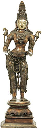 Exotic India Large Size Deepalakshmi - Brass Statue