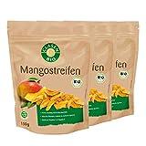 3x CLASEN BIO Mangostreifen, getrocknet, ohne Zuckerzusatz, ungeschwefelt, vegan und glutenfrei - 150 g