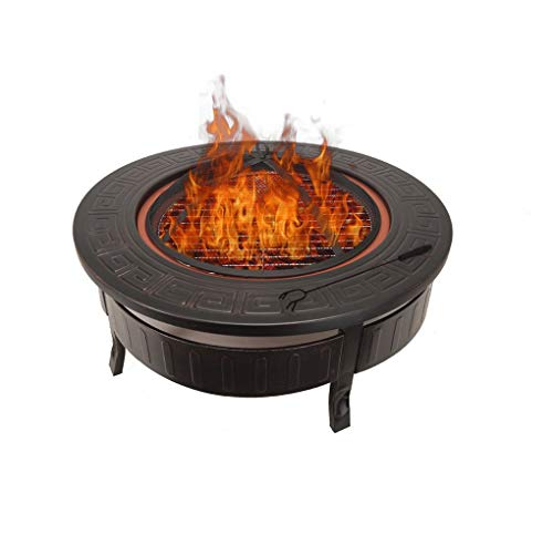 Autopeck Large Fire Pit Steel Outdoor Garden Patio Heater Fire Pit Bbq Log Wood Charcoal Burner with Mesh Cover Poker and Outdoor Rain Cover Diameter 81cm/32 Inch