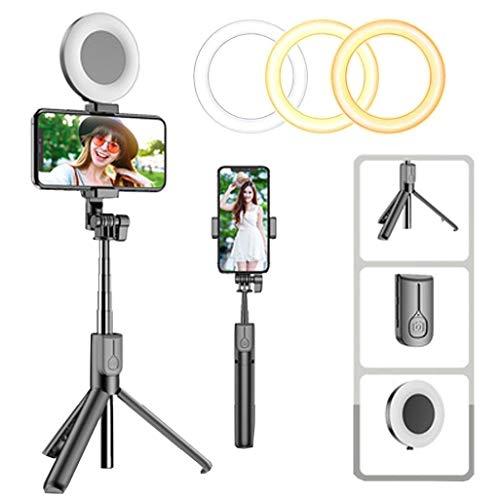 Luz de Anillo LED, Aro de Luz con Soporte de Teléfono Trípode y Control Remoto Bluetooth, Regulables Anillo de Luz para Youtube, Selfie, Maquillaje, Fotografía