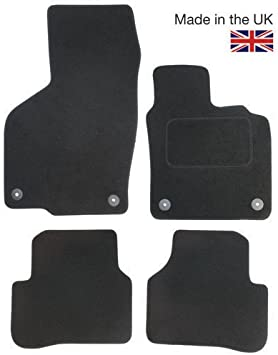 2013 ON SEAT LEON Clips WHITE TRIM Car Floor Mats Tailored Black