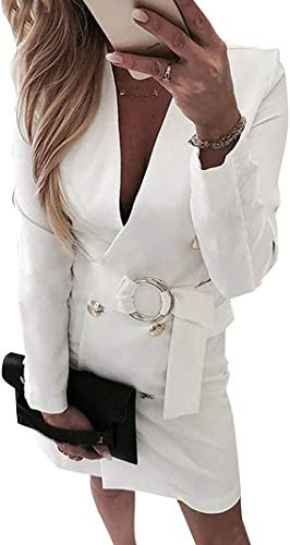Minetom Damen Blazer Kleid Frauen Elegant Langarm V-Ausschnitt Solide Hemdkleid Business Lange Hülse Büro Jacken Anzug mit Gürtel Z2 Weiß 36