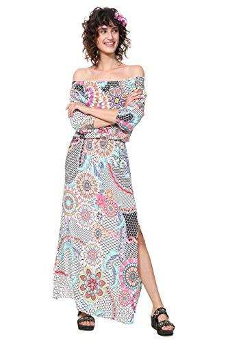 Desigual Dress 3/4 Sleeve Dera Vestido de Flor Largo, Blanco (Blanco 1000), 42 para Mujer