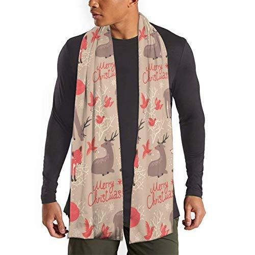 Nifdhkw Patrón navideño con bufanda de ciervos y zorros para hombre Bufandas de invierno suaves de moda ligera Abrigos de chal
