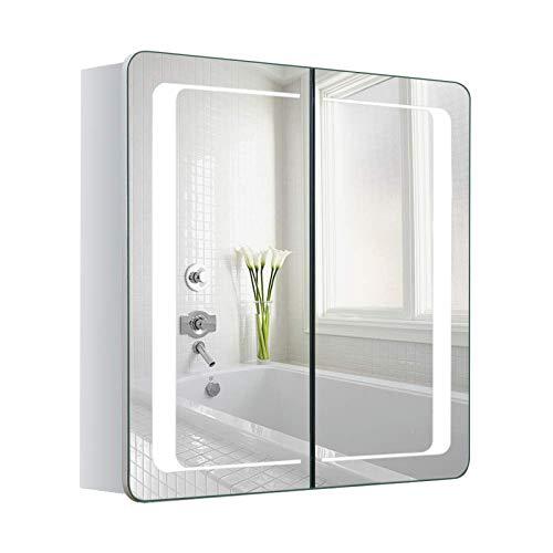 Warmiehomy LED beleuchteter Badezimmer Spiegelschrank mit Beleuchtung, Antibeschlag-Pad, Steckdose, Bluetooth Lautsprecher 60x65x13cm (HxBxT)