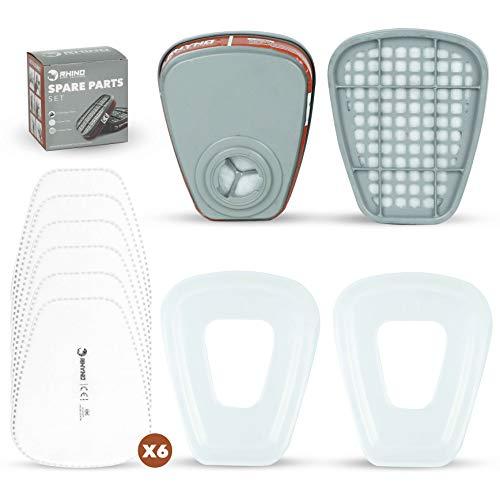 Set de Cartuchos y Filtros para Respirador Anti Polvo RHINO x2 Cartuchos, x6 Filtros x2 Protectores Compatibles con 3M y Otras Filtro Particulado, Semi Máscara Antigas, Protección Respiratoria