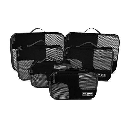 TraLight ® Packing Cubes | Packwürfel | Packtaschen | Kleidertaschen für Koffer, Reisetasche, Handgepäck, Rucksack, Sporttasche | 6 teiliges Set (Schwarz)
