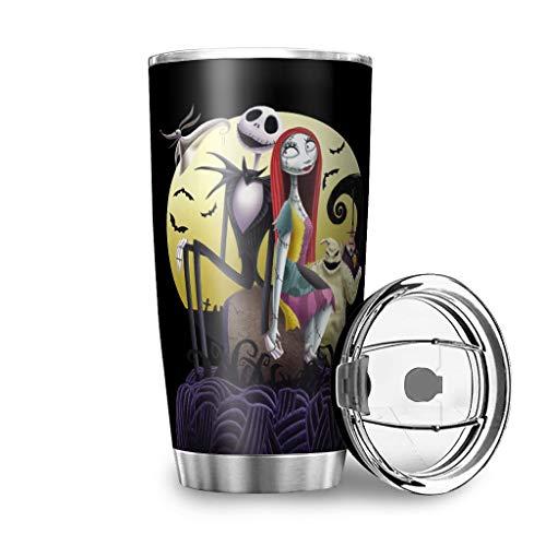 Dessionop Botella de agua Tumbler para Halloween, diseño de Jack de terror, botella de 20 onzas, antigoteo, tapa abatible, color blanco, 8 600 ml
