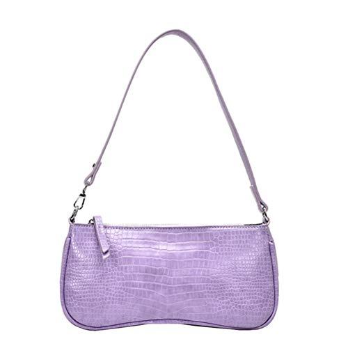 Wisvis Lila Retro Achsel Vintage Krokodil Muster Umhängetasche Sling Rucksack Pu Ledertasche Weibliche Tasche Handtaschen für Frauen Mädchen
