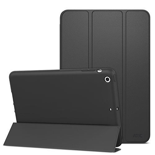 ATiC Case for iPad Mini 3 / 2 / 1, Slim Stand Case with Soft TPU Back Cover for Apple iPad Mini 1 (2012) / iPad Mini 2 (2013) / iPad Mini 3 (2014), BLACK (Will not fit iPad Mini 4)