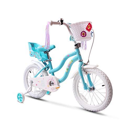 "COEWSKE Kid's Bike Steel Frame Children Bicycle Little Princess Style 14-16 Inch with Training Wheel(16"" Blue)"