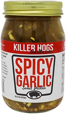 Killer Hogs Spicy Garlic Pickles Always Crisp Pickles with Sweet Garlic and Heat Great with product image
