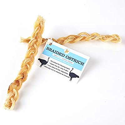 J R Pet Products 2 x Braided Ostrich Tendon. Premium 100% Natural Ostrich Long Lasting Dog Chew