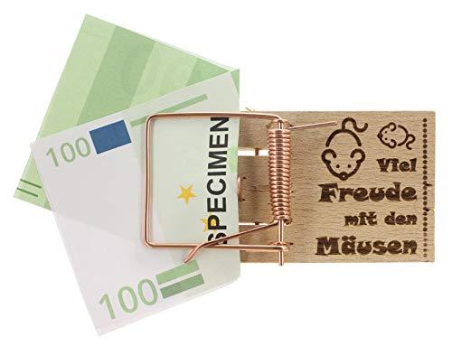 MIK Funshopping Geldgeschenk-Verpackung Mausefalle mit Spruch, witzige Geschenkidee zum Geburtstag, zur Hochzeit und zu Weihnachten (Viel Freude mit den Mäusen)