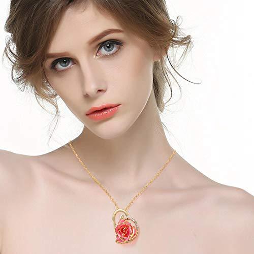Rose vergulde ketting, 24 karaat gouden hartvormige bloem hanger met kristallen kettingen sieraden cadeau voor haar