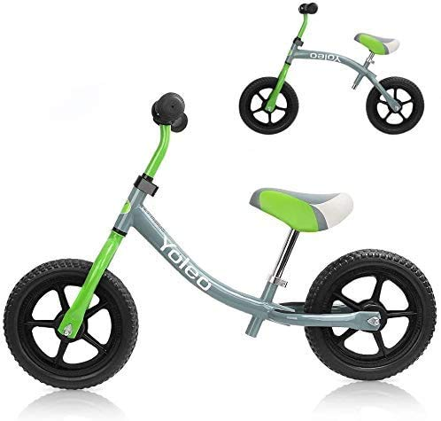 YOLEO Bicicleta sin Pedales, Sillín Regulable 31-46cm, Bicicleta Equilibrio para Niños 2+ Años, Balance Bike, Verde