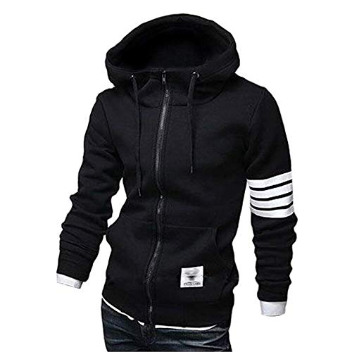 ZUEVI Men's Casual Striped Drawstring Hooded and Zipper Closure Hoodies(Black-S1)