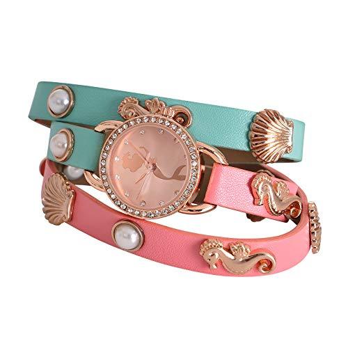 Accutime Watch Corp. Arielle Disney Uhr mit Wickelarmband Analog rosa türkis