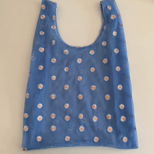 HJFGSAK Bolsa de la Compra 1 Pieza de Verano para Mujer, pequeño Bolso Transparente de Tela de Malla, Bolso Bordado con Margaritas, Fruta ecológica, Azul Profundo
