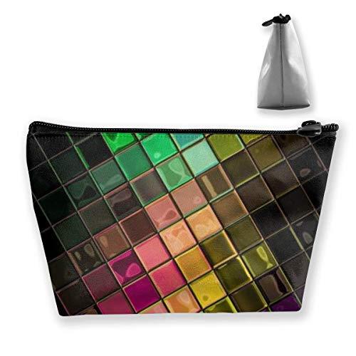 Sac de Poche cosmétique coloré de Maquillage de trapèze de Bloc de Disco pour Le Sac à Main de Femmes