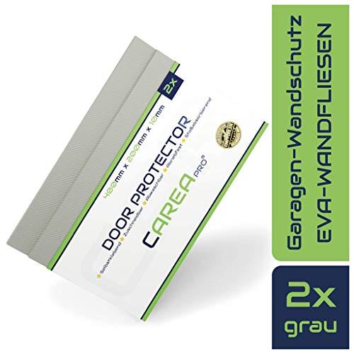 CAREApro ® Premium Garagen-Wandschutz   2er Pack   Extra Stoßfest   Natur-Grau   40cm x 20cm x 1cm   Selbstklebender Türkantenschoner