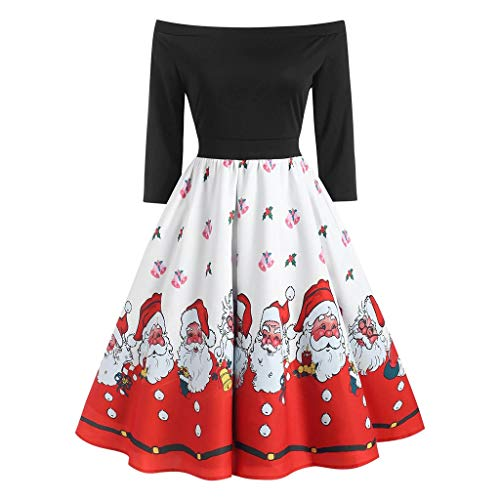 Reooly con Cremallera Fuera del Hombro Vestido de Banquete Hepburn Vestido de Dobladillo Plisado con Estampado navideño de Moda para Mujer