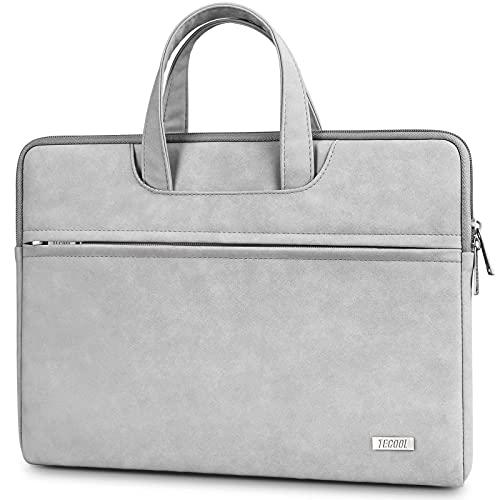 TECOOL 13-14 Zoll Laptop Hülle Tasche mit Handgriff, Notebooktasche Sleeve PU-Leder Wasserdicht Schutzhülle Aktentasche für MacBook Air/Pro 13, Surface Laptop 3/2, Lenovo/HP/ASUS/Acer/Dell - Hellgrau