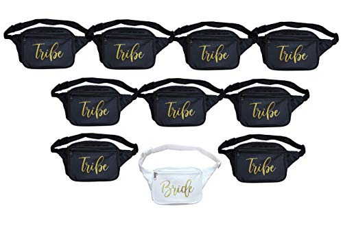 Bachelorette Fanny Packs Set of 10. Bride Fanny Pack and Bride Tribe Gifts.