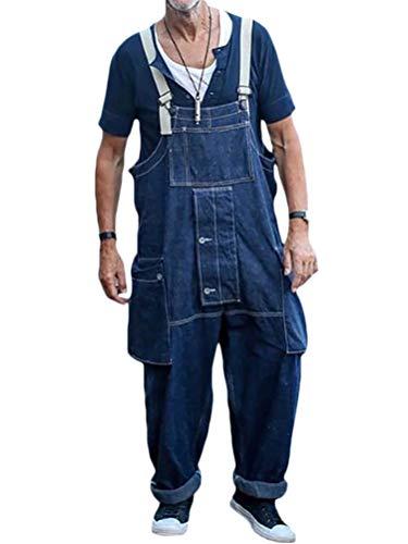 Minetom Herren Jeans Latzhose Overall Arbeitshosen Lange Jeanshose Retro Denim Arbeitslatzhose Jumpsuit Multifunktion Hose Arbeitskleidung Loose Fit A Blau XS