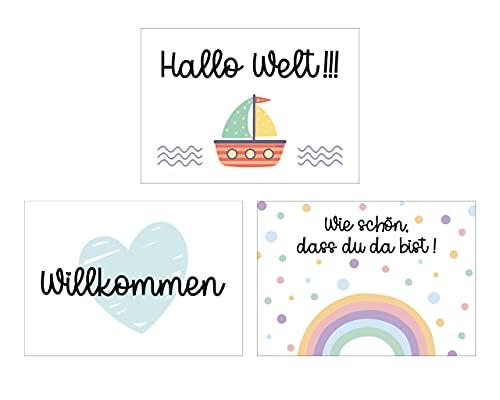 Glückwunschkarten Geburt Postkarten Klappkarten bunte Motive Jungen Mädchen Grußkarten Glückwunsch (Postkarten)