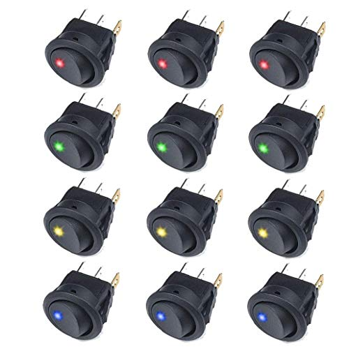 Interruptor basculante Ronda de balancín interruptor de palanca On Off Pulse el botón 12V 20A del coche camión basculante interruptor del panel con accesorios suministros Negro LED 12PCS industriales