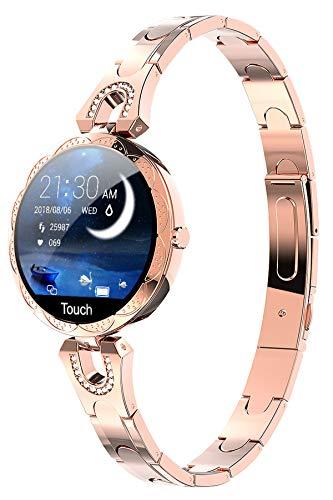 Smartwatch Damen Fitness Armband Mädchen Sportuhr Pulsuhr IP67 Wasserdicht Aktivitätstracker Schrittzähler Herzfrequenz Uhr mit Blutdruckmessung Schlaftracker IOS Android Rosegold