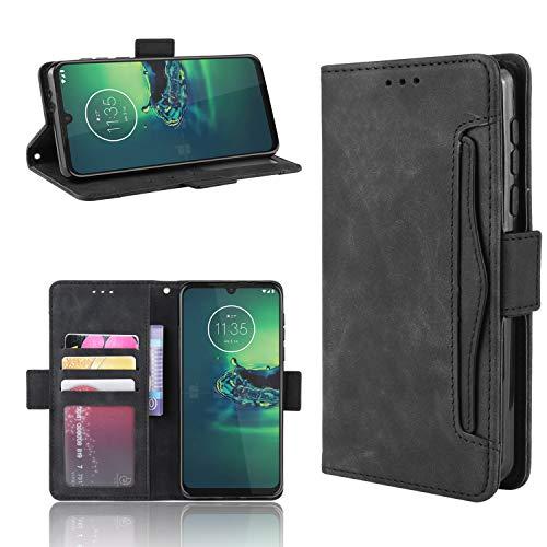 MARR Lederhülle Moto G8 Plus Flip Hülle Moto G8 Plus Wallet Hülle Handyhülle PU Leder Tasche Schutzhülle für Motorola Moto G8 Plus (Schwarz)