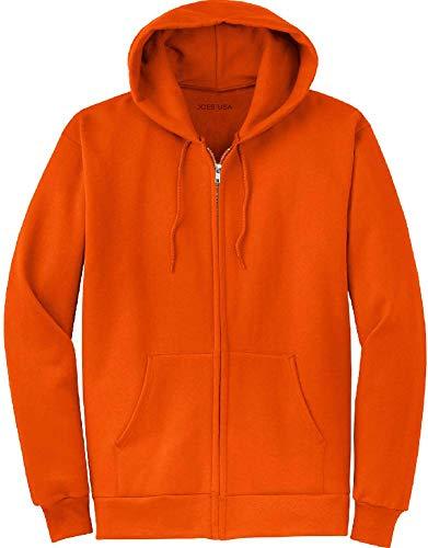 Joe's USA Full Zipper Hooded Sweatshirts, Orange, Medium