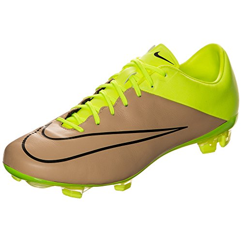 Nike Men's Mercurial Veloce II Leather FG Canvas/Black/Volt Shoes - 9
