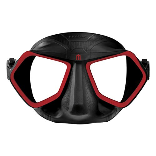 Omer Wolf Mask Low Volume Freediving Spearfishing Mask (Black/Red)