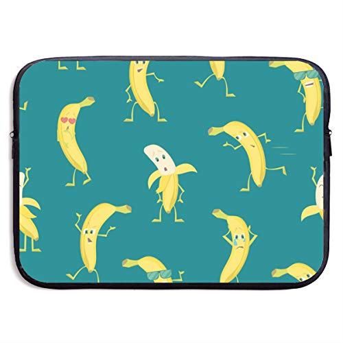 Cartoon Characters Funny Yellow Bananas 13-15 Inch Laptop Sleeve Bag Portable Dual Zipper Case Cover Pouch Holder Pocket Tablet Bag,Water Resistant,Black