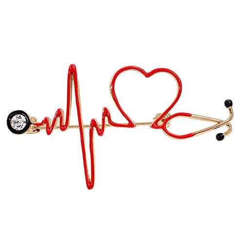 BINGBIAN Broche de estetoscopio con diseño de corazón de amor y corazón de dibujos animados para enfermera, ECG