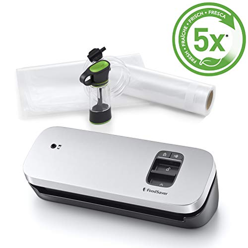Foodsaver Kompaktes VS1190X Vakuumversiegelungssystem mit Handheld-Vakuumierer, zilber