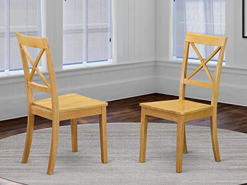 East West Furniture Boston Wood Dining Chair - Wooden Seat and Oak Finish Solid Wood Frame Modern Dining Chair Set of 2