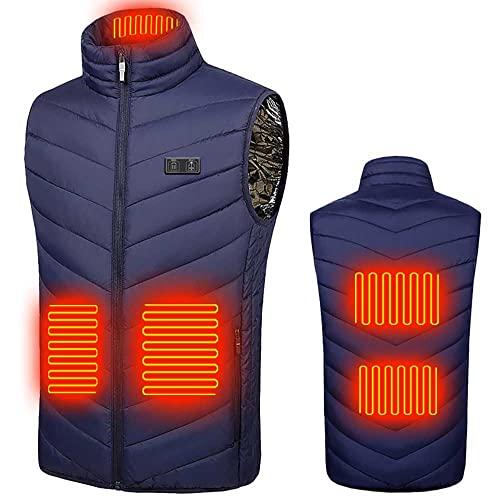 Cewaal Chaleco calefactor para hombre y mujer, con doble control de temperatura independiente, lavable con calefacción, chaqueta climatizada para camping, senderismo, patinaje sobre hielo