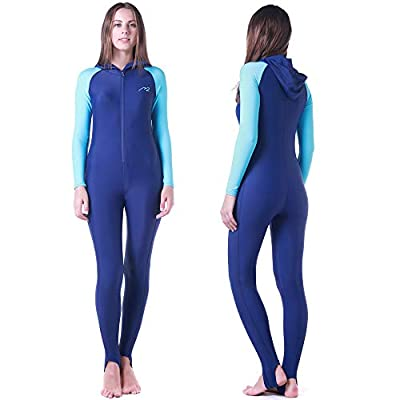 Wetsuit Full Suits for Women or Mens Modest Full Body Diving Suit & Breathable Sports Skins for Running Snorkeling Swimming (016-girl-blue, M)